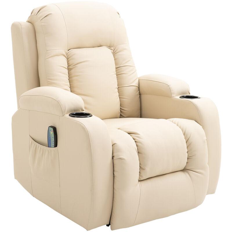 ® Massagesessel mit Wärmefunktion   Metall, Kunststoff   90 x 93 x 103 cm   Creme - creme - Homcom