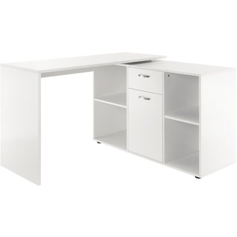 Homcom MDF Adjustable Large L-Shaped Computer Desk Workstation PC Home Office - White