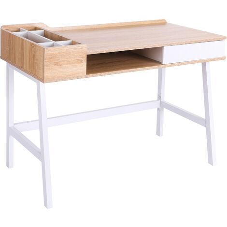 HOMCOM MDF Computer Desk PC Workstation Laptop Table Metal Frame - Oak and White