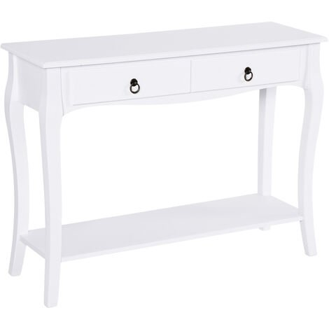 HOMCOM MDF Console Table Storage Display Desk Home Office 2 Drawers Modern Eco-friendly - Ivory White