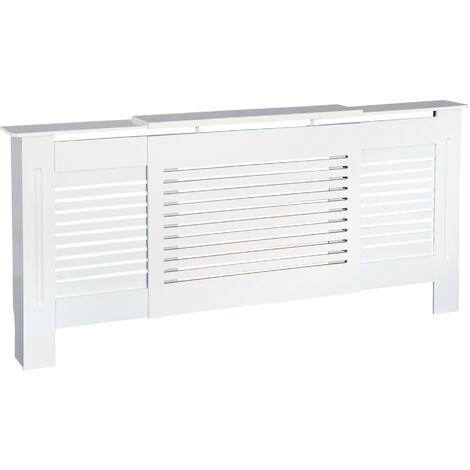 HOMCOM MDF Extendable Radiator Cover Cabinet Shelving Slatted Design White 140-204L x 21W x 83H cm