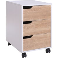HOMCOM MDF Mobile File Cabinet pedestal with 3 Drawers Lockable Casters - Oak and White