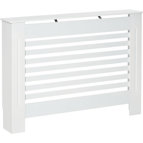 HOMCOM MDF Modern Radiator Cover Cabinet Top Shelving Slatted Design White 112L x 19W x 81H cm