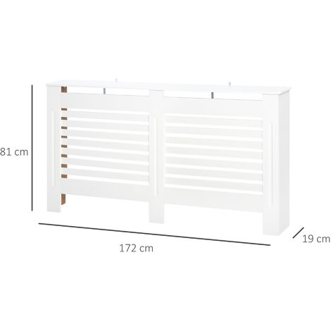 HOMCOM MDF White Painted Radiator Cover Slatted Cabinet Display Horizontal Style 172L x 19W x 81H cm