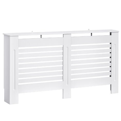 HOMCOM MDF White Painted Radiator Cover Wooden Cabinet Display Horizontal Slats 152Lx 19W x 81H cm