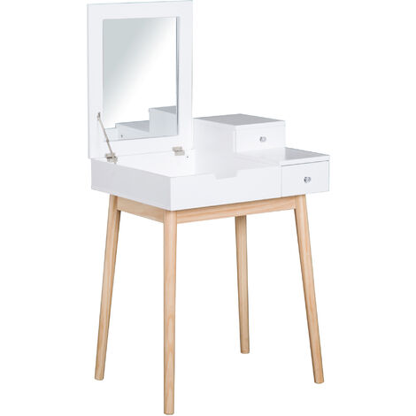 HOMCOM MDF,Pine Dressing Table Desk Flip-up Mirror Multi-purpose 2 Drawers Modern - White