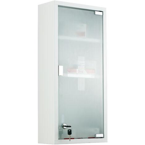 HOMCOM® Medizinschrank Arzneischrank Erste-Hilfe-Schrank mit Schloss 3 Fächer Mattglas Metall Weiß 27 x 57 x 12 cm