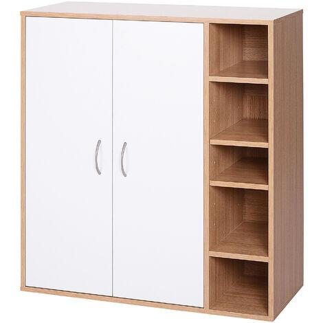 HOMCOM® Mehrzweckschrank Standschrank Standregal Dekoschrank Bücherregal Schrank Holz Natur 80 x 32 x 90,5 cm - natur/weiß