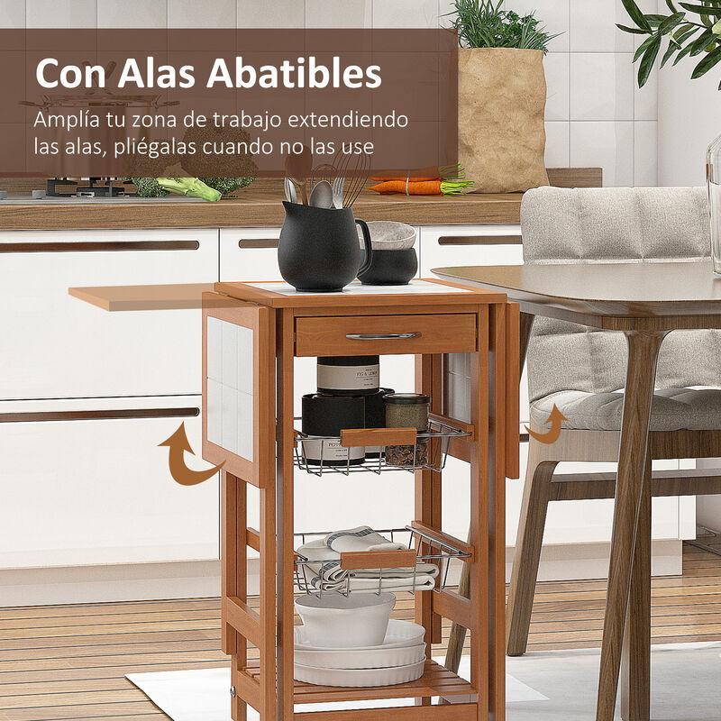 HOMCOM Mesa Auxiliar Cocina 92x37x75 cm Plegable 6 Ruedas 1 Cajon 2 Cestas  Carrito Servicio Pino Metal Cromado