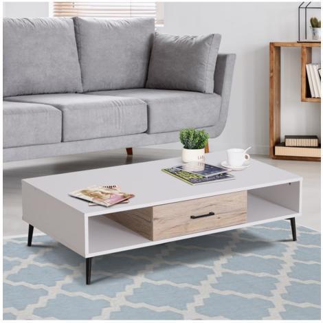 Homcom® mesa de centro mesa con estante y cajón para salón ...