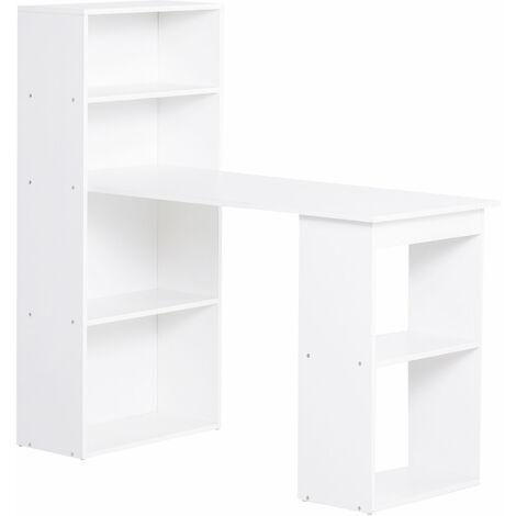 HOMCOM Mesa de Ordenador Escritorio para Hogar Oficina con Librería Estantes - Blanco