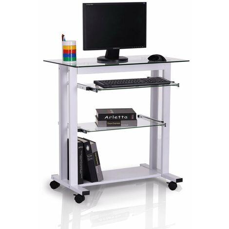 HOMCOM Mesa de Ordenador PC 80x51x83cm Oficina Despacho Escritorio Escuela Metal Vidrio
