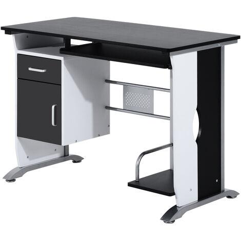 HOMCOM Mesa de Ordenador PC Despacho Escritorio 100x52x75cm Oficina Escuela Madera - Negro y Plata