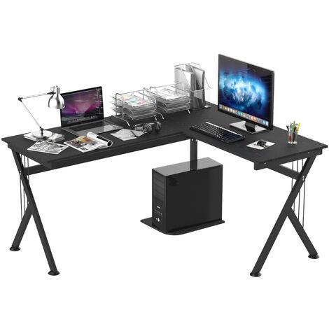 HOMCOM Mesa de Ordenador PC Madera Mesa Esquinera de Forma L Mesa Oficina Hogar