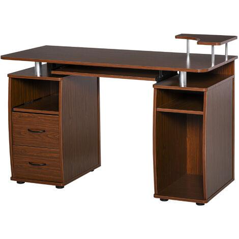 HOMCOM Mesa de Ordenador PC Mesa Escritorio con Múltiples Estantes y 2 Cajones Oficina - Marrón