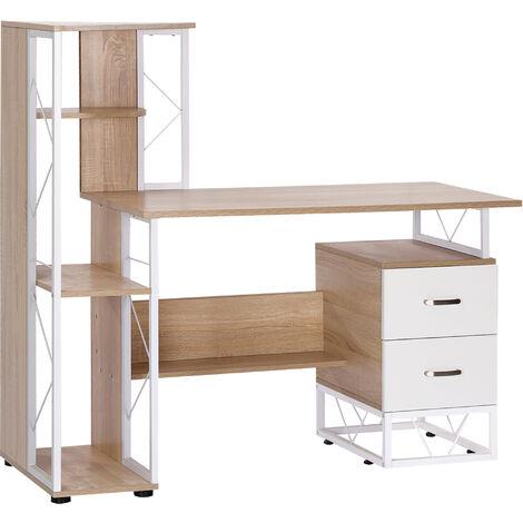 HOMCOM Mesa de Ordenador PC Oficina Despacho Escritorio Escuela 133x55x123cm Estanteria