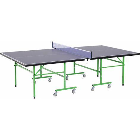e4ac81cd7 HOMCOM Mesa de Ping Pong Plegable con Ruedas Red Tenis de Mesa Portátil  Patas Ajustables para