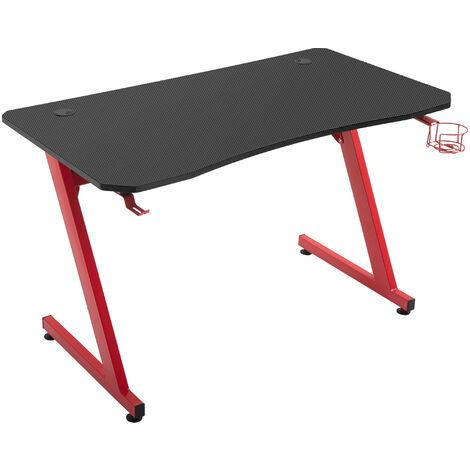 """main image of """"HOMCOM Mesa Gaming para Ordenador con Portavasos Gancho Auriculares 120x65x74,5 cm Rojo - Rojo"""""""
