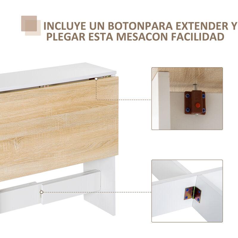 Homcom Mesa Plegable Cocina Salon Mesa Auxiliar Con 2 Alas Abatibles Ahorra Espacio Diseno Moderno 103x76x73 5cm Madera