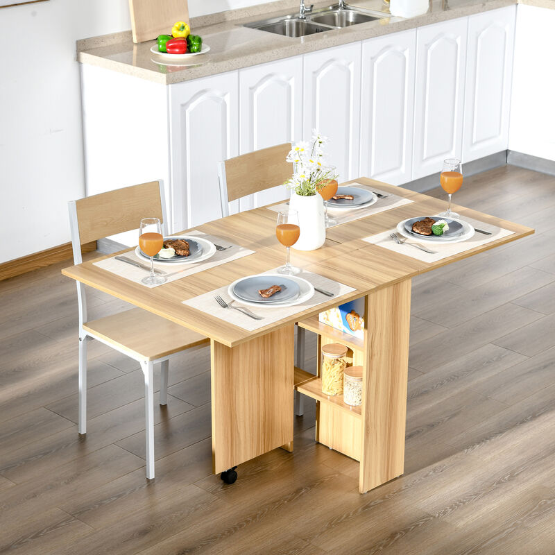 Mesas Plegables De Madera Para Comedor.Homcom Mesa Plegable Con Ruedas Estante Multifuncional Para Comedor Salon Mesa Auxiliar 3 Formas Espacio Ahorrado Madera
