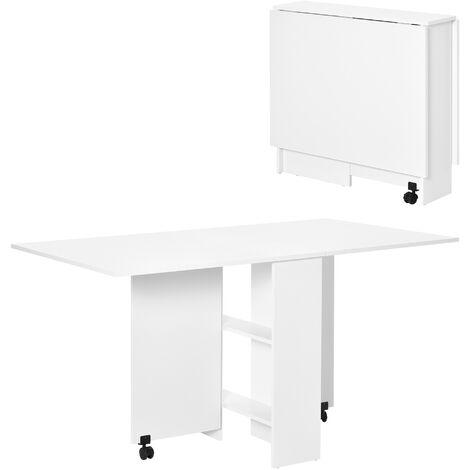 HOMCOM Mesa plegable de madera con ruedas comedor auxiliar cocina escritorio Blanco