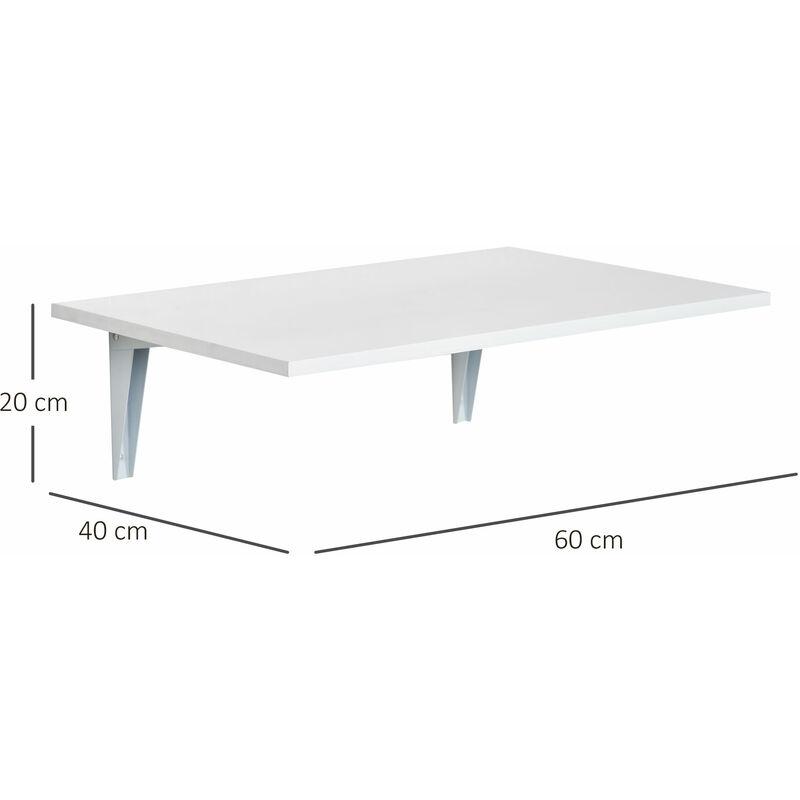 Homcom Mesa Plegable De Pared Para Cocina Y Comedor 60x40x1 5cm Mesa Auxiliar Color Blanco Madera Blanco