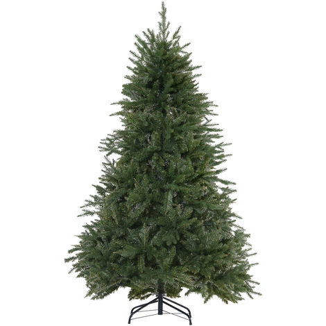 HOMCOM Metal Base Stand Artificial Christmas Plain Spruce Faux Seasonal Decoration 1075 PVC Tips 6FT Green