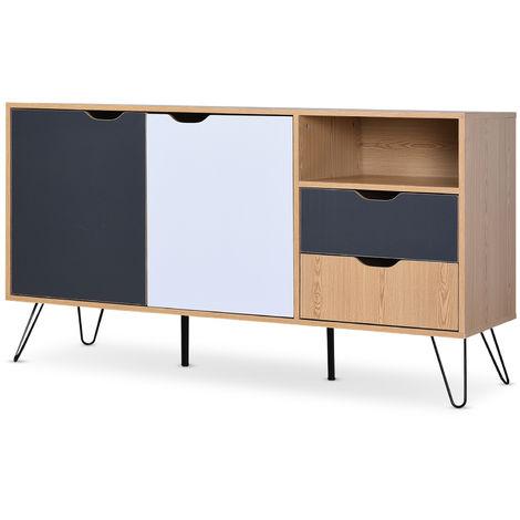 HOMCOM Metal Bedside Table W/ Drawer, Sofa End Night Stand Bedroom Multicolor