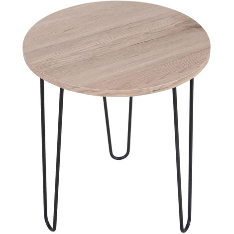 HOMCOM Metal Hairpin Side Table w/ Round Tabletop Smooth Surface Retro Oak Tone