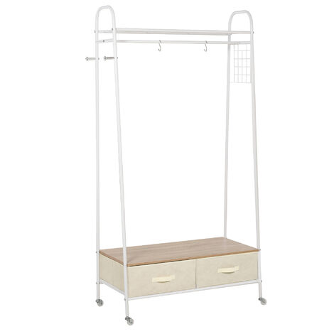 HOMCOM Metal Rolling Coat Rack Clothes Stand Garment Storage Shelf w/ 2 Drawers
