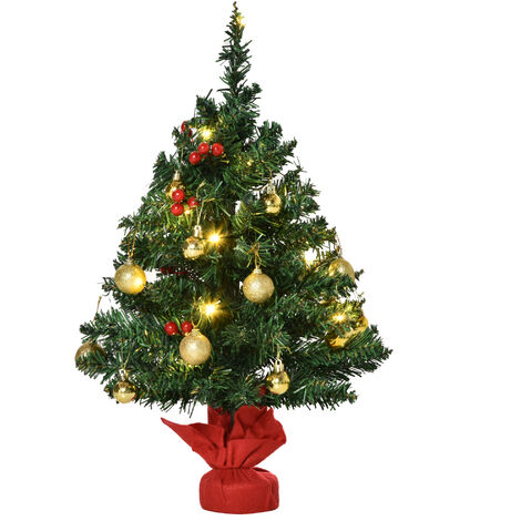 HOMCOM Mini Árbol de Navidad 60cm Artificial Árbol de Pino con Soporte de Cemento 73
