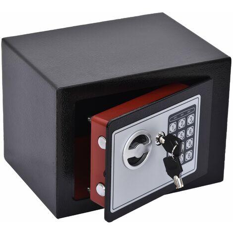 """main image of """"HOMCOM Mini Cassaforte Elettronica con Combinazione e Chiavi di Emergenza, in Acciaio con Fissaggio a Muro, 23x17x17cm Nero"""""""