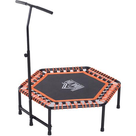 HOMCOM Mini Hexagon Exercise Trampoline Rebounder Fitness Jumper w/ Adjustable Handle Bar