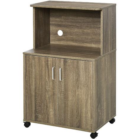 HOMCOM Mini Moving Kitchen Storage Cabinet w/ Cupboard Shelf Locking Wheels Brown