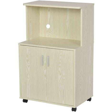 HOMCOM Mini Moving Kitchen Storage Cabinet w/ Cupboard Shelf Locking Wheels Oak