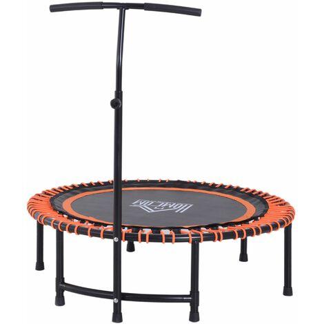 HOMCOM Mini Round Exercise Trampoline Rebounder Fitness Jumper w/ Adjustable Handle Bar