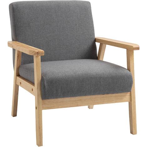 HOMCOM Minimalistic Accent Chair Wood Frame w/ Linen Cushions Wide Seat Armchair