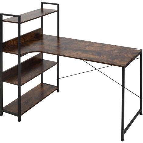 "main image of ""HOMCOM Minimalistic Computer Desk w/ 3 Side Shelf Metal Frame Home Office"""