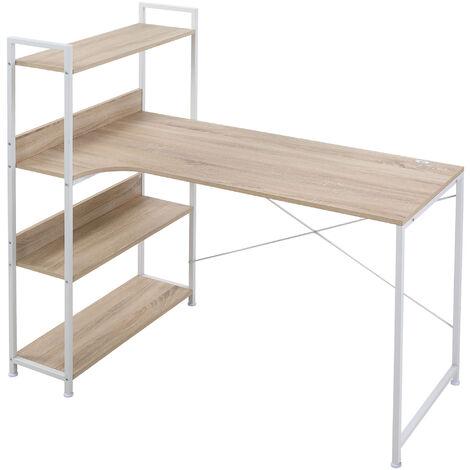 HOMCOM Minimalistic Computer Desk w/ 3 Side Shelf Metal Frame Home Office White