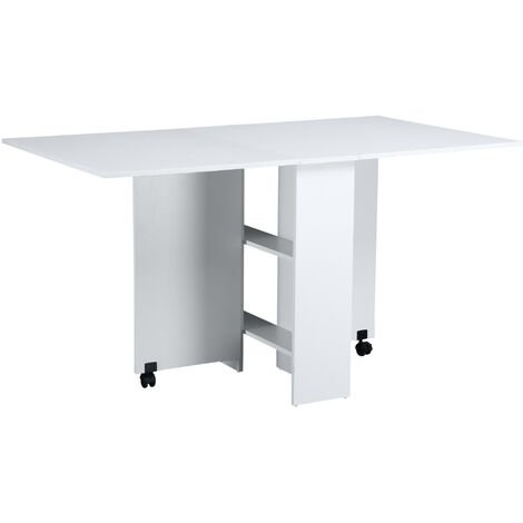 HOMCOM Mobile Drop Leaf Dining Table Folding Desk w/ 2 wheels Storage Shleves White