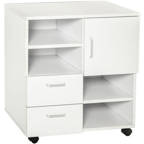 HOMCOM Mobile Storage Cabinet Cupboard with Drawers 4 Shelves Lockable Wheels - White