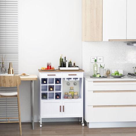 HomCom Mobiletto da Cucina con Ruote, Portabottiglie e Porta ...
