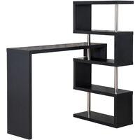 HOMCOM Modern Bar Counter Beverage Table Storage Display Wooden Shelf Shelving Room Divider (Black)