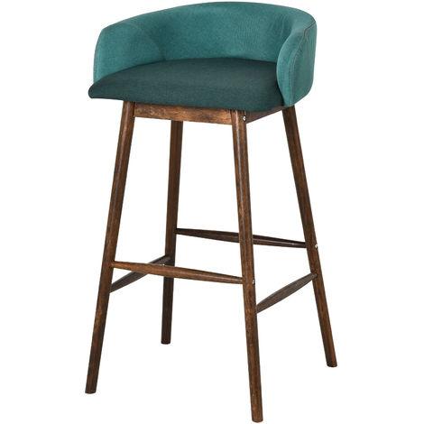 HOMCOM Modern Bar Stool Wood Frame Plush Padded Tub Seat Home Elegant Green