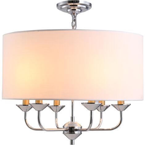 HOMCOM Modern Candlestick & Fabric Shade Chandelier Pendant Light Home Décor