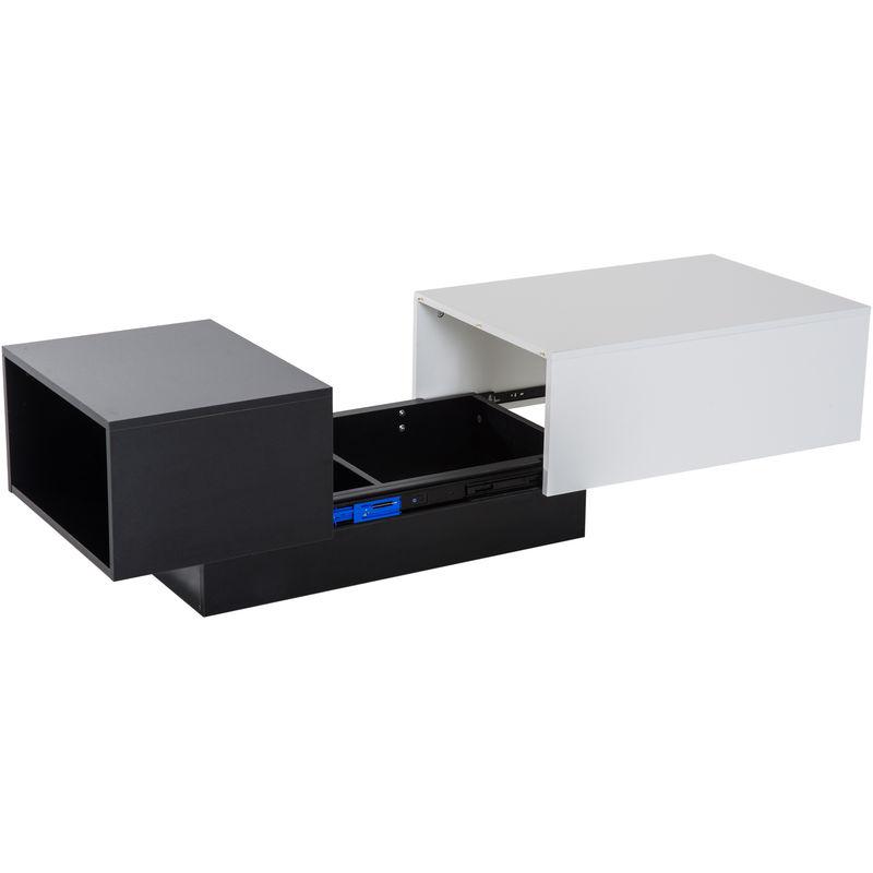 Homcom Modern Coffee Table Storage Unit Living Room With Sliding Top