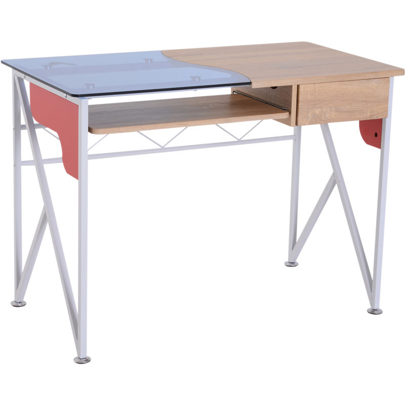 Homcom Modern Computer Desk Writing Table Sliding Keyboard Drawer Home Office Furniture