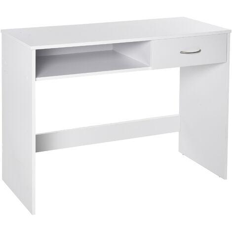 HOMCOM Modern Computer Work Desk Table Study Shelf Drawer Writing Station White