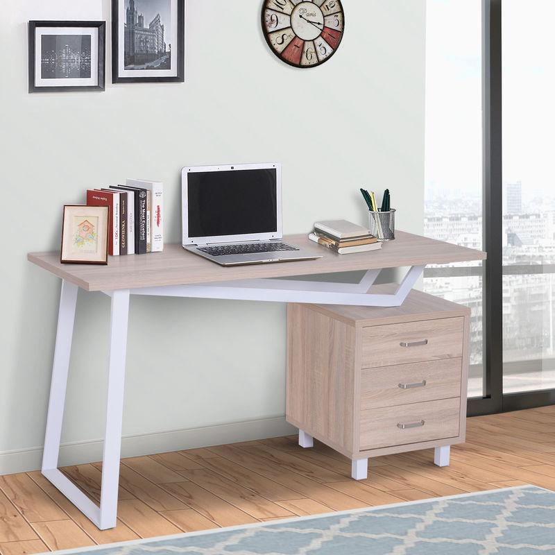 Homcom Modern Computer Writing Desk 3 Drawers Cabinet Pc Home Office Oak Colour