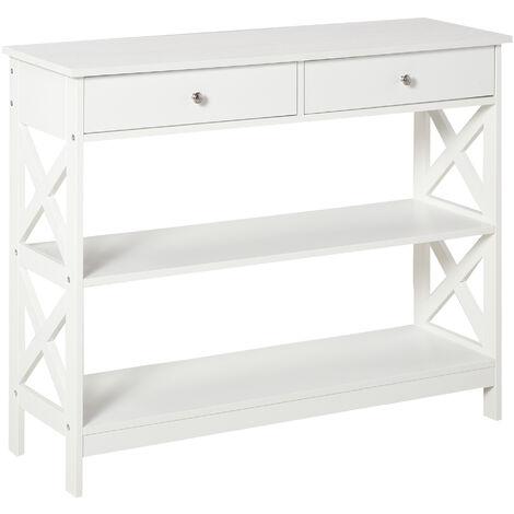 HOMCOM Modern Console Table w/ Shelves & Drawers Home Hallway Storage White